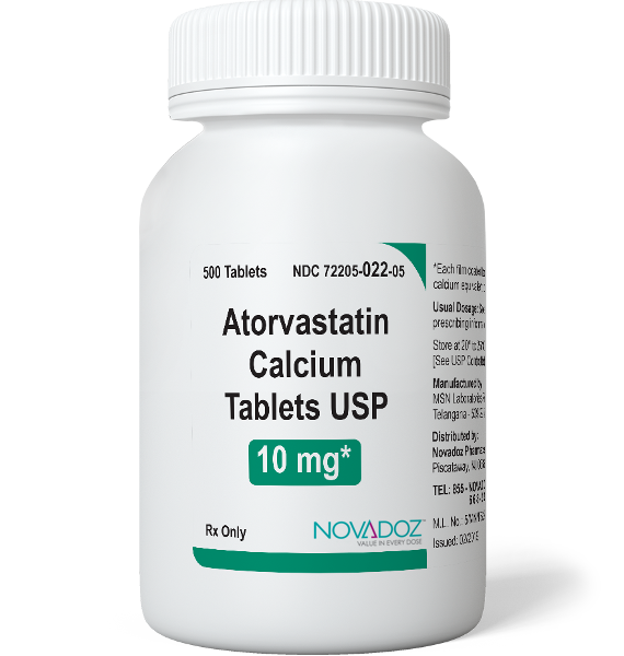 Atorvastatin Calcium 10mg 500 Tablet Bottle