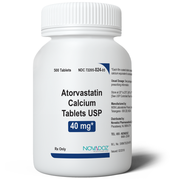 Atorvastatin Calcium 40mg 500 Tablet Bottle