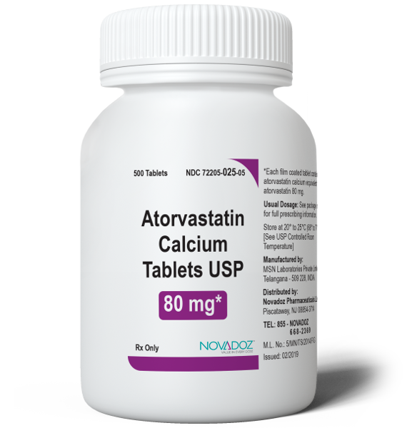 Atorvastatin Calcium 80mg 500 Tablet Bottle